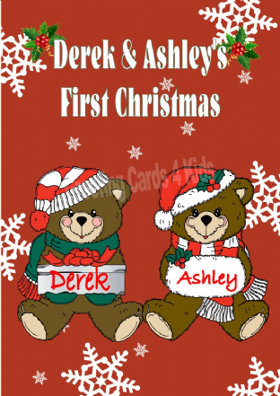 Personalised Boy Girl Teddy Twins First Christmas Card